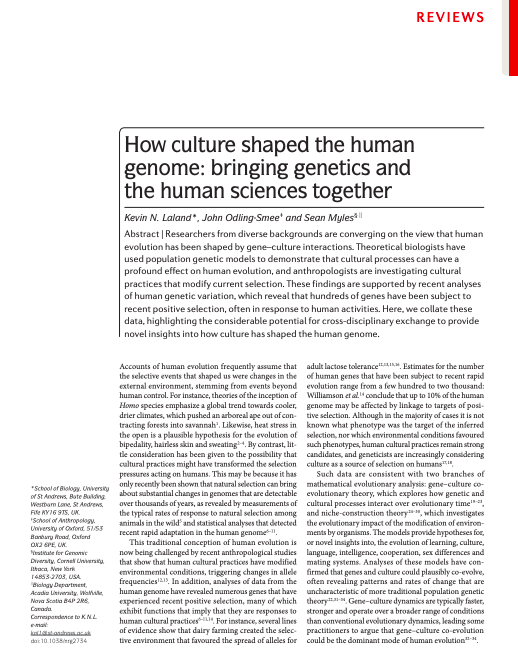 Abstract from Nature Reviews Genetics