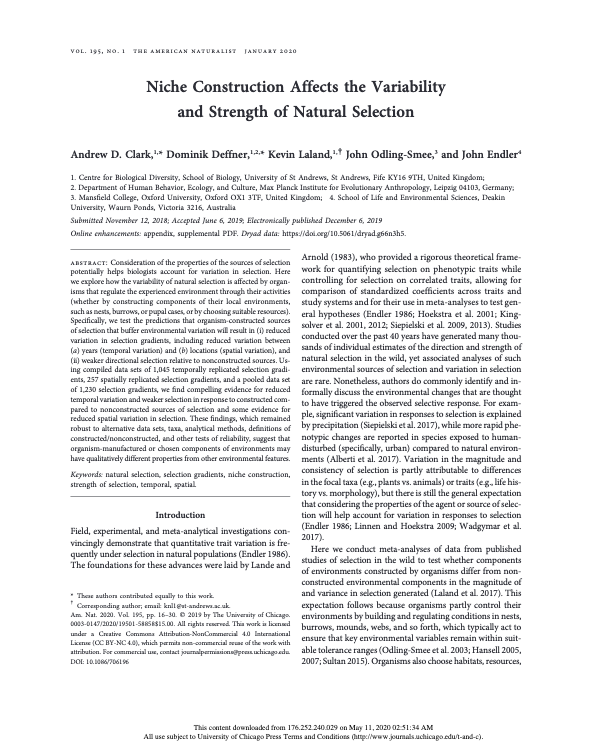 Abstract from Americal Naturalist