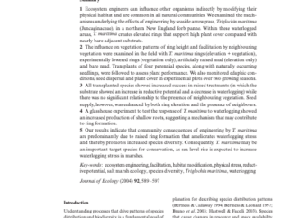 Abstract from Journal of Ecology