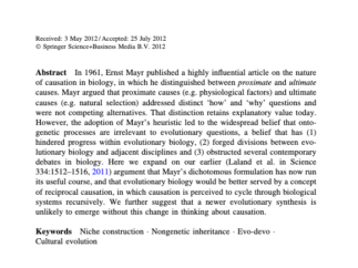 Abstract from Biology & Philosophy